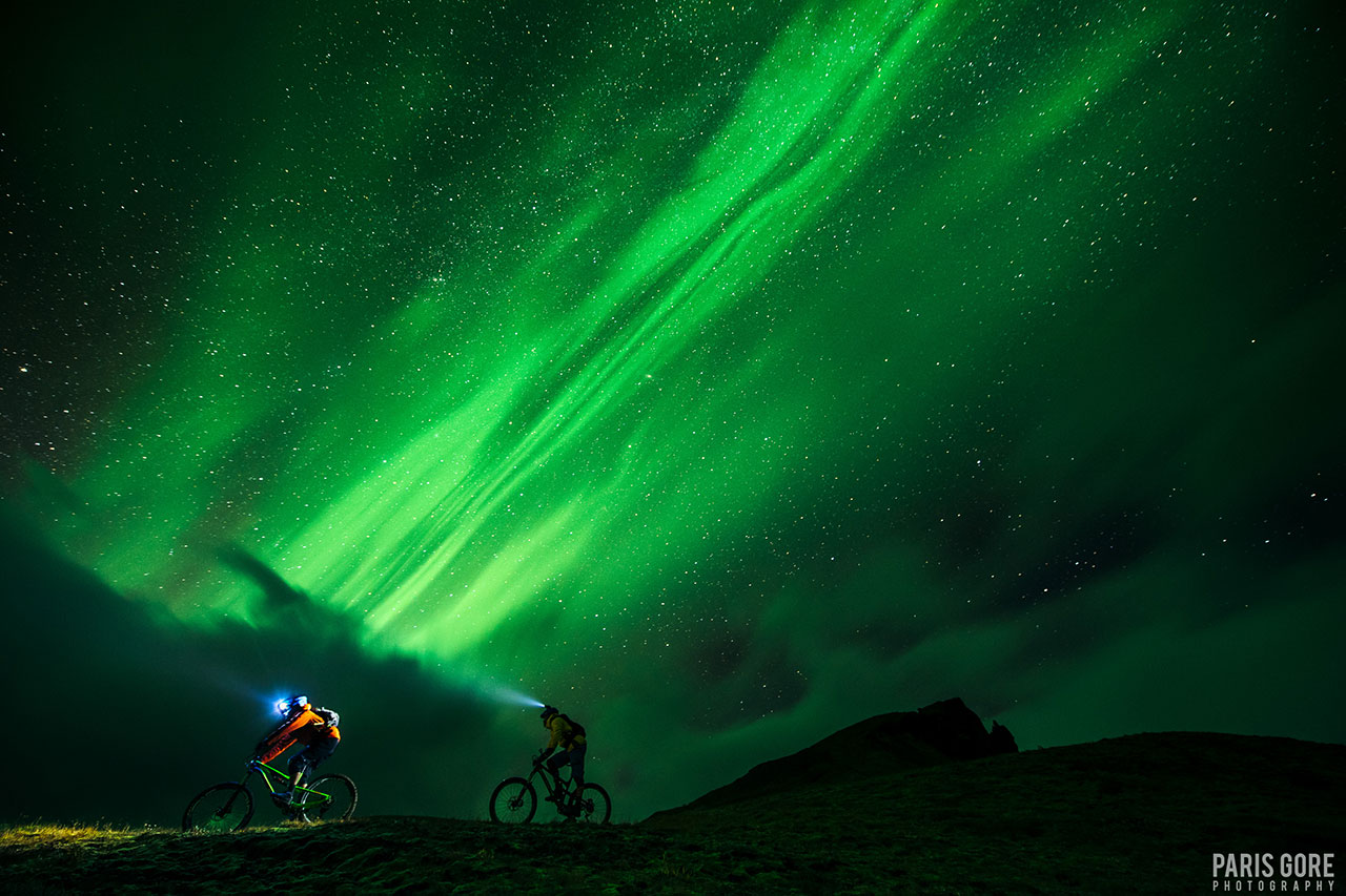 northern light aurora biking