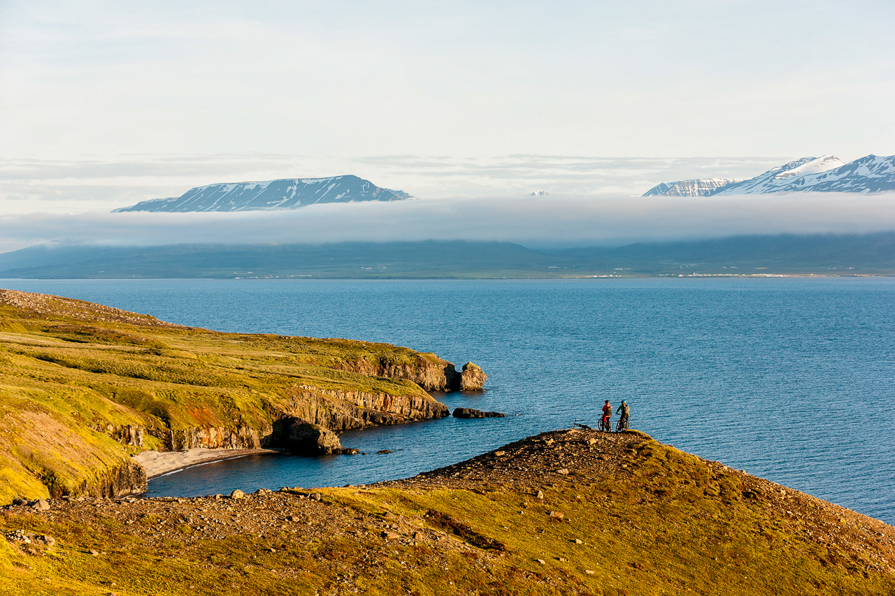 Akureyri North Iceland with Icebike adventure bike clients enjoing the landscape